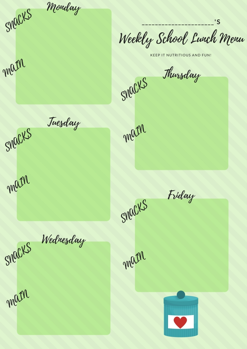 Back To School – Lunch Planner