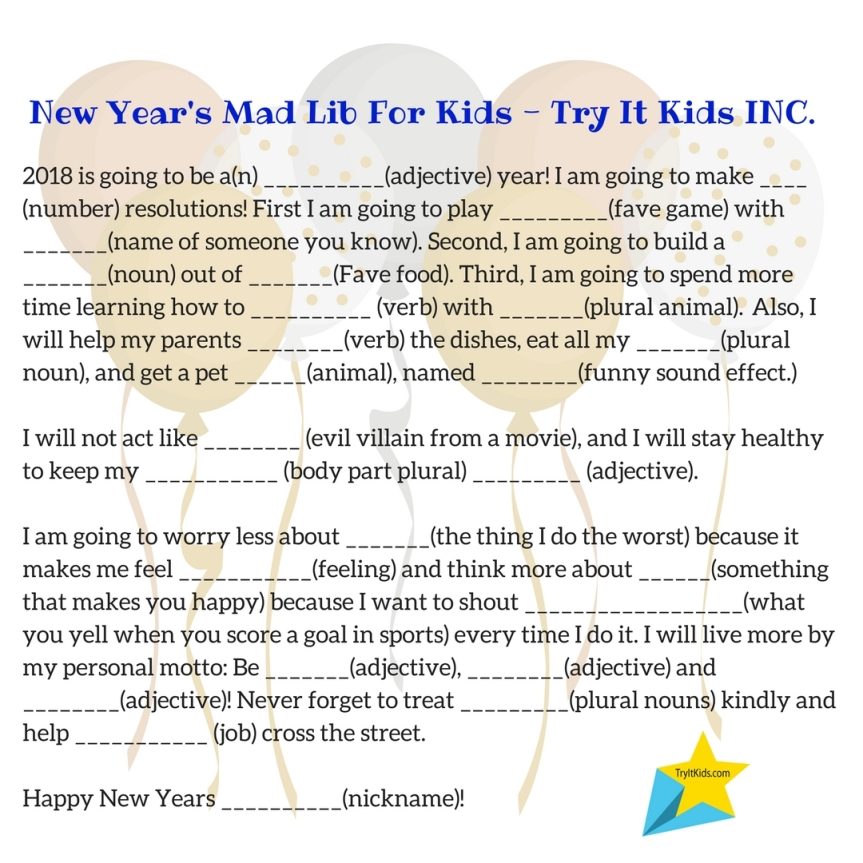 New Years Eve…  with kids:) – Try It Kids INC